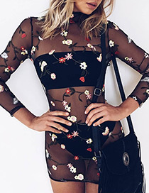 Fashion Black Embroidery Flower Decorated Perspective Slim Dress