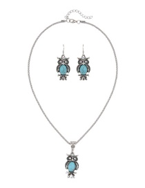 Trendy Green Owl Shape Decorated Pure Color Simple Jewelry Set