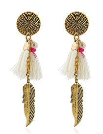 Trendy White Tassel&leaf Decorated Color Matching Simple Earrings