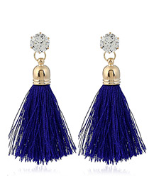 Trendy Sapphire Blue Diamond&tassel Decorated Pure Color Simple Earrings
