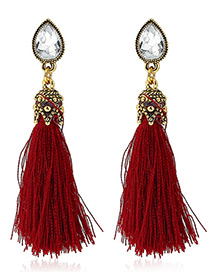 Trendy Red Diamond&tassel Decorated Pure Color Simple Earrings