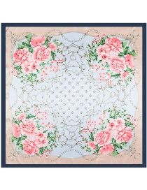 Fashion Navy Four Flowers Decorated Square Shape Scarf