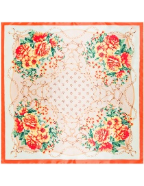 Fashion Orange Four Flowers Decorated Square Shape Scarf
