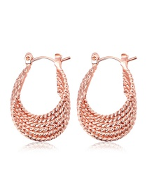 Fashion Rose Gold Pure Color Decorated U Shape Earrings