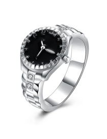 Fashion Silver Color+black Clock Decorated Color Matching Ring