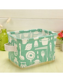 Trendy Green Knife&fork Pattern Decorated Pure Color Storage Box