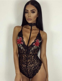 Trendy Black Embroidery Flower Decorated Lace Pure Color Jumpsuit