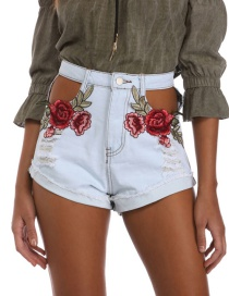 Trendy Light Blue Embroidery Flower Decorated Hollow Out Simple Shorts
