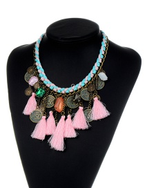 Trendy Pink Tassel&coins Shape Decorated Simple Necklace