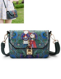 Trendy Green Flower&lock Decorated Color Matching Shoulder Bag