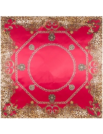 Trendy Red Leopard Pattern Decorated Square Shape Scarf