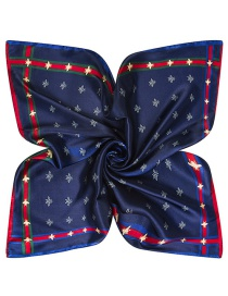 Trendy Navy Bees Pattern Decorated Pure Color Square Scarf