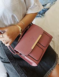 Fashion Dark Pink Two Pockets Decorated Bag