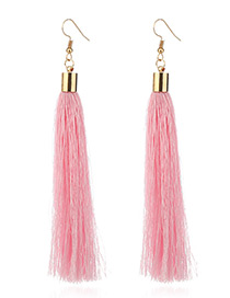 Elegant Pink Tassel Deocrated Pure Color Simple Earrings
