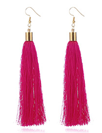 Elegant Plum Red Tassel Deocrated Pure Color Simple Earrings