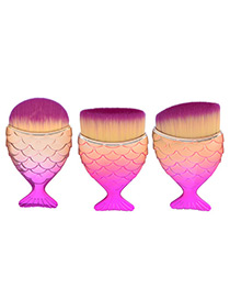 Fashion Pink Mermaid Shape Decorated Pure Color Cosmetic Brush (3 Pcs)