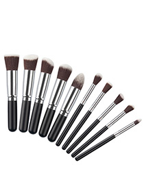 Fashion Black+silver Color Geometry Decorated Color Matching Cosmetic Brush (10 Pcs)