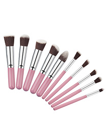 Fashion Pink+silver Color Geometry Decorated Color Matching Cosmetic Brush (10 Pcs)