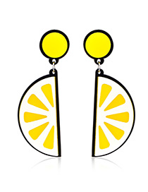Fashion Yellow Orange Pendant Decorated Earrings