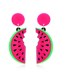 Fashion Plum-red Watermelon Pendant Decorated Earrings