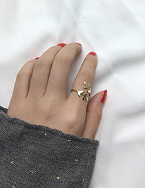 Fashion Gold Color Leaf Shape Decorated Simple Ring