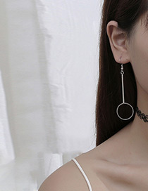 Fashion Silver Color Round Shape Decorated Earring (1pcs)