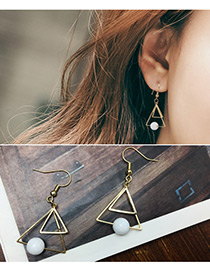 Fashion Gold Color Double Triangle Shape Decorated Earrings