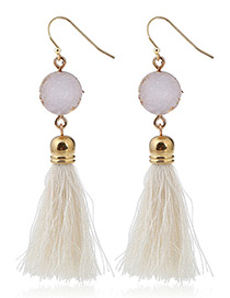 Bohemia White Long Tassle Decorated Earrings