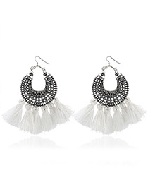 Bohemia White Tassel Decorated Hollow Out Earrings