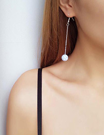 Elegant Silver Color Round Shape Pendant Decorated Long Earrings