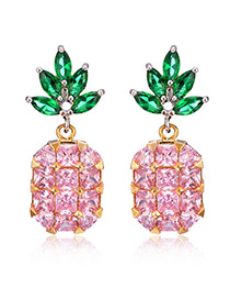 Lovely Pink Pineapple Shape Decorated Earrings