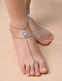 Fashion Silver Color Diamond Decorated Double Layer Simple Anklet(1pc)
