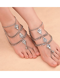 Fashion Silver Color Gemstone Decorated Multi-layer Simple Anklet (1pc)