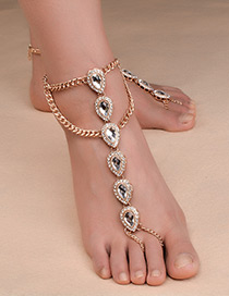 Fashion Gold Color Gemstone Decorated Double Layer Pure Color Anklet (1pc)
