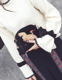 Fashion Black Embroidery Crane Decorated Pure Color Shoulder Bag