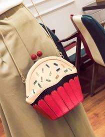 Fashion Red Cake Shape Decorated Color Matching Shoulder Bag