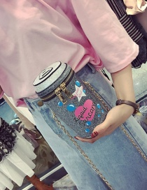 Fashion Gray Bottle Shape Decorated Pure Color Shoulder Bag