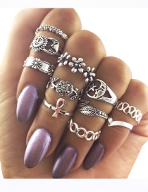 Fashion Silver Color Flower&moon Shape Decorated Pure Color Ring (11 Pcs)