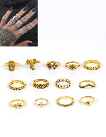 Fashion Gold Color Elephant Shape Decorated Pure Color Ring (13 Pcs)