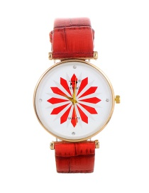 Fashion Red Flower Pattern Decorated Round Dail Watch