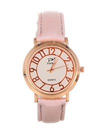 Trendy Lighe Pink Dail Shape Decorated Pure Color Simple Watch