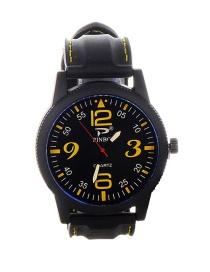 Trendy Yellow Digital Pattern Decorated Round Dail Watch
