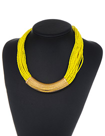 Fashion Yellow Bead Decorated Multi-layer Pure Color Necklace