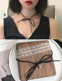 Fashion Black Diamond Decorated Pure Color Simple Choker