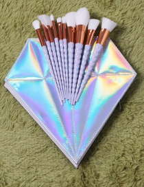 Fashion Silver Color Unicorn Decorated Cosmetic Brush (10pcs prush+cosmetic bag)