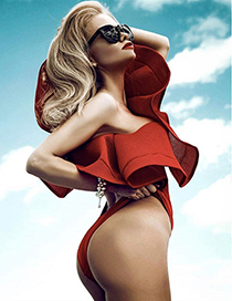 Sexy Red Pure Color Decorated Single Shoulder Swimwear