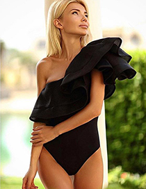 Sexy Black Pure Color Decorated Single Shoulder Swimwear