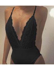 Sexy Black Hollow Out Decorated Pure Color Swimwear