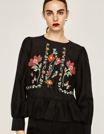 Vintage Black Embroidered Fabric Decorated Simple Long-sleeved Shirt