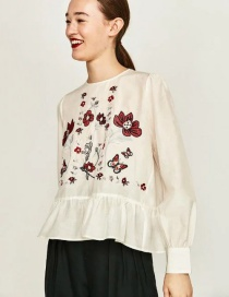 Vintage White Embroidered Fabric Decorated Simple Long-sleeved Shirt